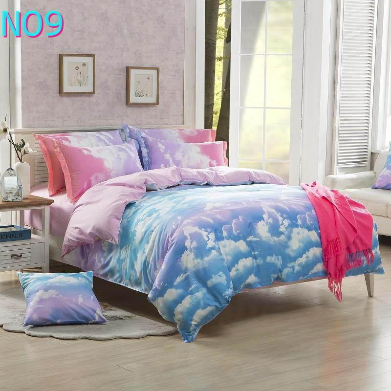 Красивые Облака Стиль хлопковый комплект постельного белья, постельное белье набор 3/постельного белья из 4 предметов, комплект с надписью «розовый», цвет бел - Цвет: Фиолетовый