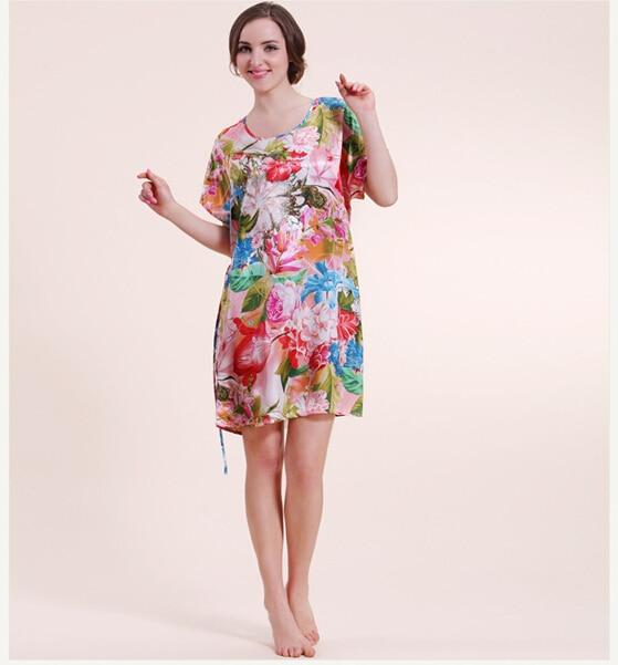 New design flowers pattern silk bathrobes women charming dressing ...