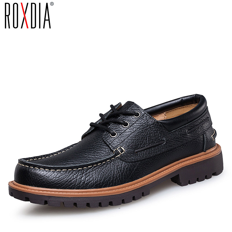 ROXDIA autumn leather casual men flats waterproof loafers dress shoes for work flat male driver shoe plus size 39-47 RXM059 цены онлайн