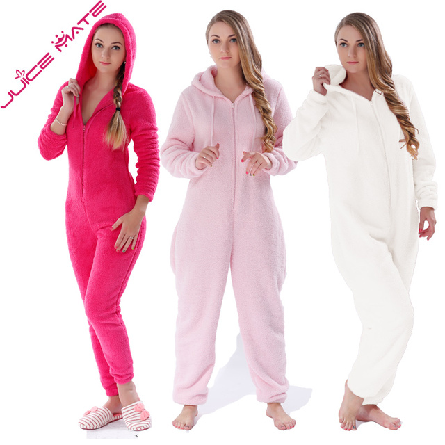 Inverno Quente Pijamas Mulheres Onesies Velo Fofo Jumpsuits Sleepwear Conjuntos Pijama Onesie Geral Plus Size Capuz Para Mulheres Adultas