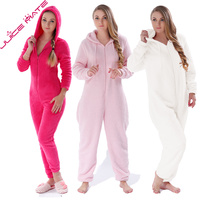 Adults Plus Size Onesie Pajamas Girls Pink Rose Red Pajamas Jumpsuit Winter Hooded Onesie Sleepwear Robes