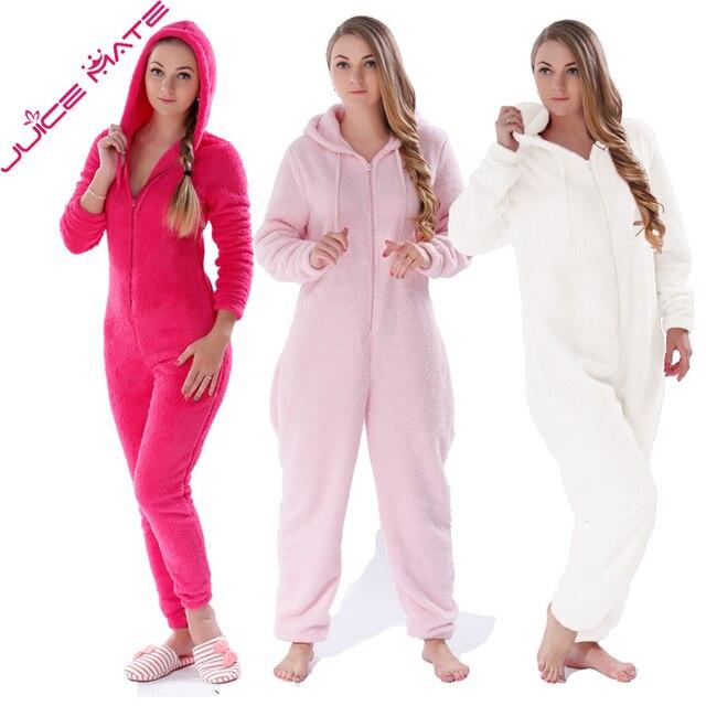 Winter Warm Mujeres Onesies Pijamas Buzos Ropa de Dormir de Lana Mullida Total Más Tamaño Capucha Establece Pijama Pijama de una pieza Para Las Mujeres Adultas