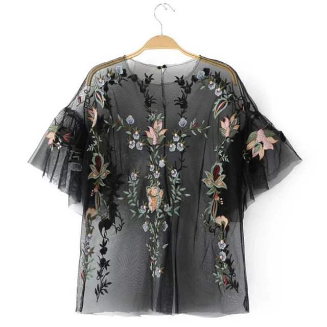 ada38ecc924 Ky Q Summer 2018 Sexy See Through Women Mesh Top Blouses Short Sleeve Floral  Embroidery Shirts For
