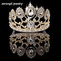 Free shipping tall pageant gold rhinestone women party holiday  crown tiara for decoration custom cost extra