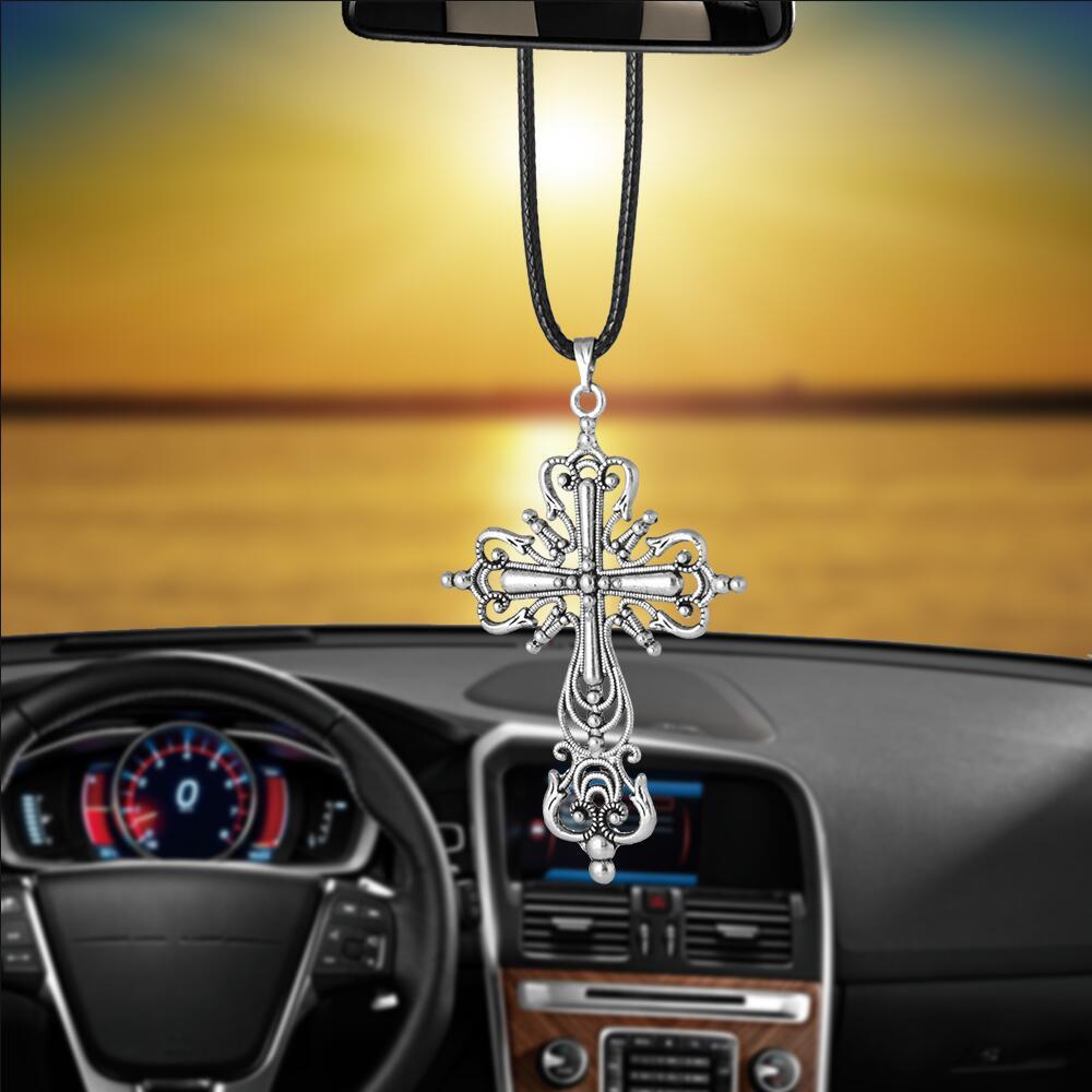 Auto Innen Ornaments Jesus Christus Hohl Kreuz Quaste R/ückspiegel zum Aufh/ängen Dekoration