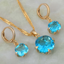 Mais recente design de qualidade superior skyblue zircônia cúbica conjuntos jóias pingente/brincos ouro amarelo s157