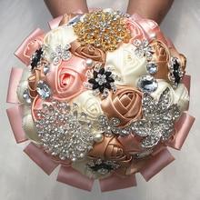 Customized Ivory Khaki Flowers Wedding Bridal Bouquets GoldSilver Diamond Brooch Bouquet Holder W2290China