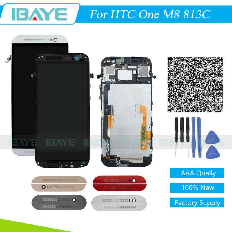 Prix pour Plein Écran Pour HTC One M8 Écran lcd + Écran Tactile Digitizer Assemblée-Cadre Pour HTC One M8 813C Remplacement De Réparation partie
