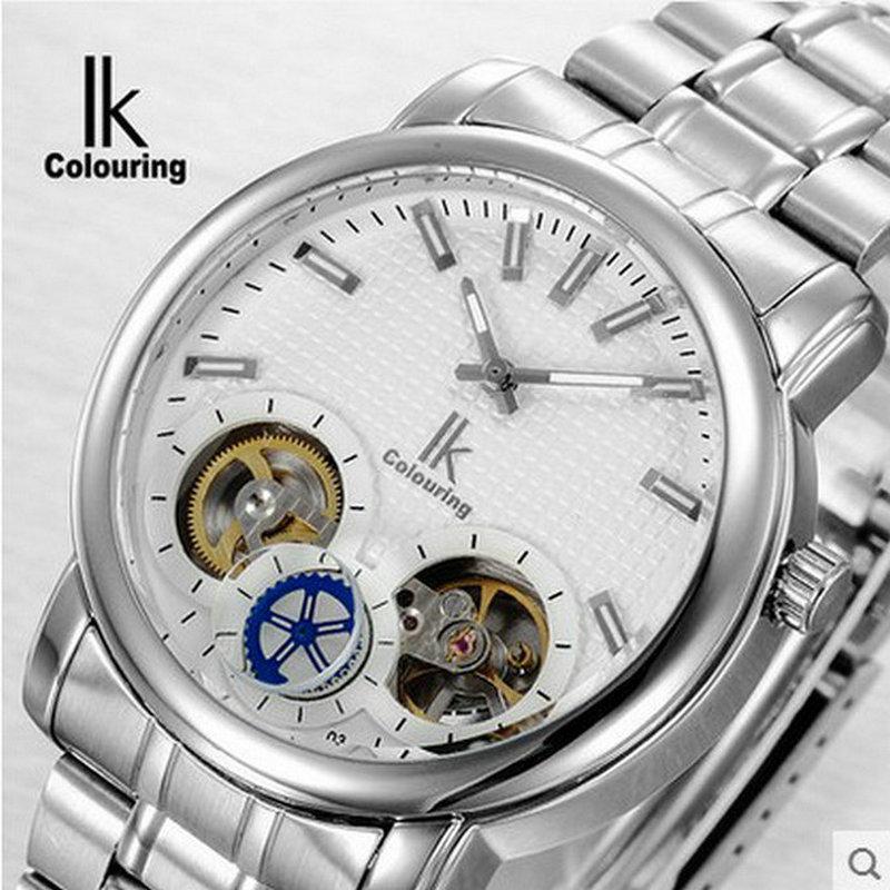 ФОТО Ik for cutout double movement watch fashion male watch quartz watch waterproof watch