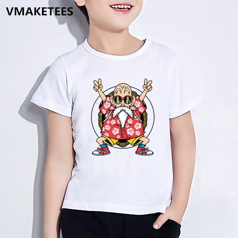 100% QualitäT Kinder Sommer Kurzarm Mädchen & Jungen T Shirt Anime Dragon Ball Z Master Roshi Drucken T-shirt Cartoon Lustige Baby Kleidung, Hkp5216
