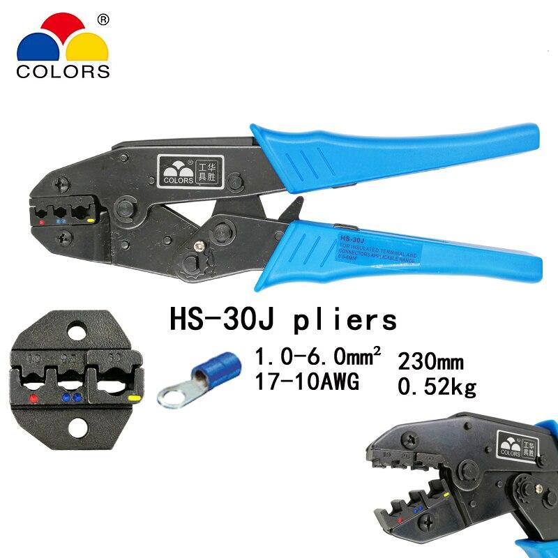 Handwerkzeuge Farben Hs-30j Crimpen Zangen Für Isolierte Terminals Und Anschlüsse Selbst-anpassung Kapazität 1-6mm2 17-10awg Hand Werkzeuge