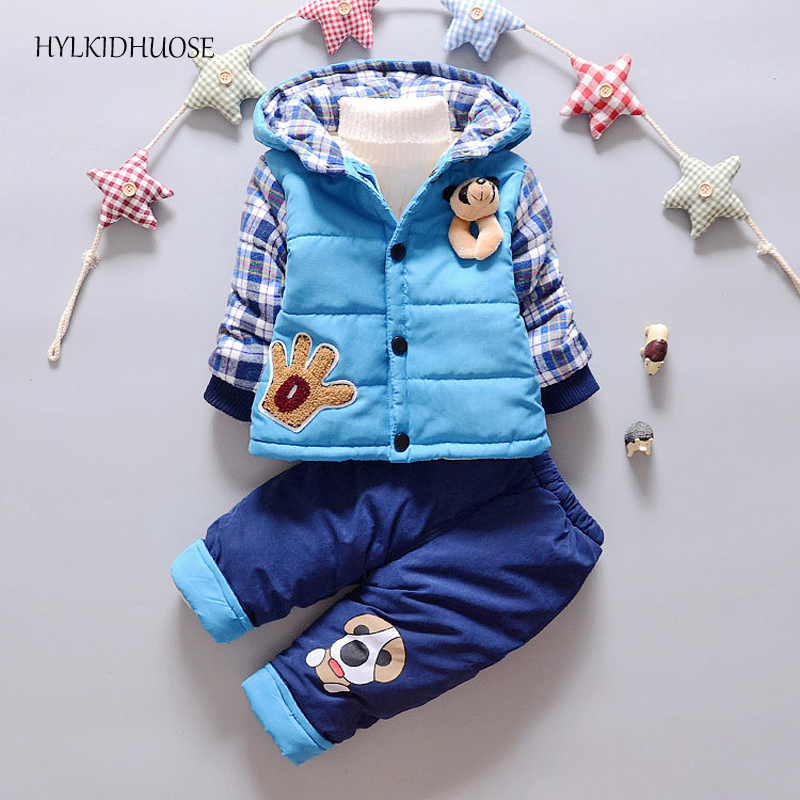 HYLKIDHUOSE 2017 Winter Infant/Newborn Clothes Sets Baby Boys Girls Warm Suits Cotton Hooded Thick Coats+Pants Child Kids Suit new winter baby hat real fur pom pom knitted toddler kid thick warm double raccoon fur balls beanies boys girls bonnet gorros f3