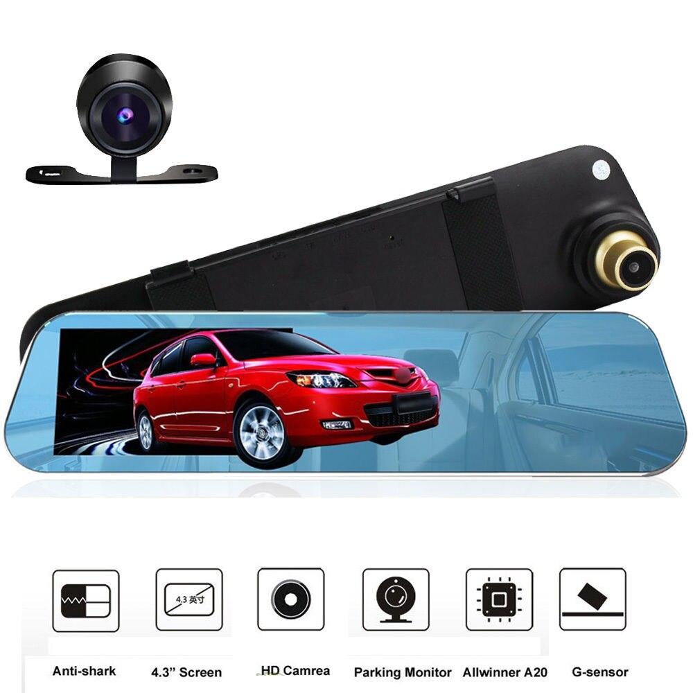 4.3 Mirror Car DVR Dual Camera Support Backup Rear Cameras FHD 1080P Video Registrator Recorder Parking Monitor Auto Black box
