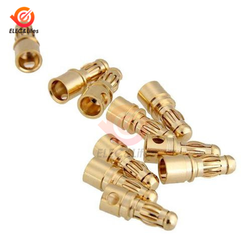 10Pcs 3.5mm Gold Plated Male Female Bullet Banana Connector Plug For RC ESC Battery Motor Terminals Parts DIY