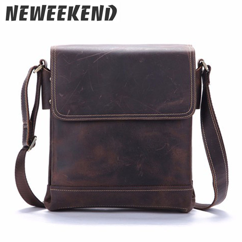 Crazy Horse Genuine Leather Male Men s Over Shoulder Messenger Handbag Casual Crossbody Bags For iPads