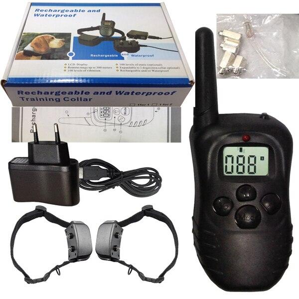 2 마리의 강아지를 위해 100lv 충격 LCD 디스플레이 998DR 2 마리의 원격 제어 개 훈련 고리 충전식 방수 애완 동물 훈련 고리