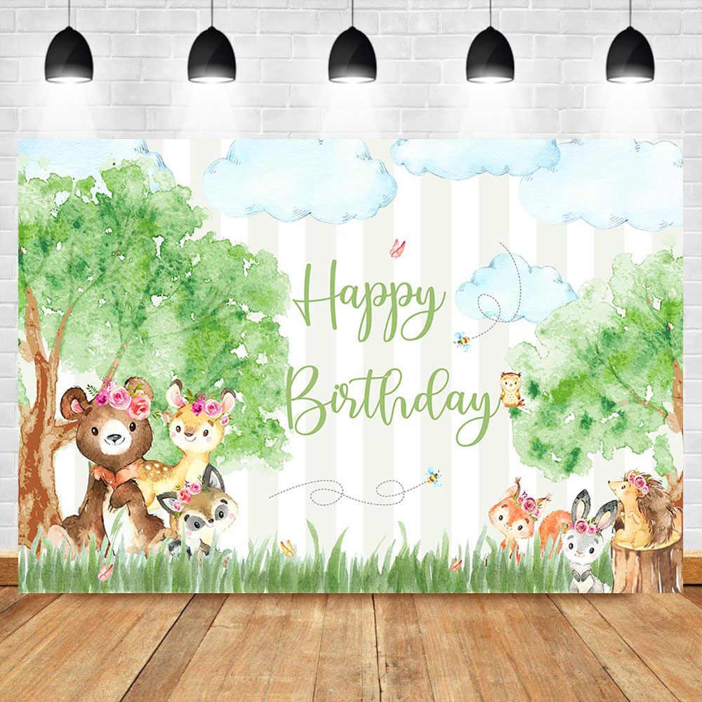 Woodland mutlu doğum günü Backdrop suluboya resim hayvan orman fotoğraf arka plan Woodland bebek duş afiş dekorasyon
