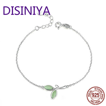 DISINIYA    New Arrival 925 Sterling Silver Geen Hope Bud Link Chain Bracelet For Women Fashion Bangle Jewelry Lover Gift CQB112