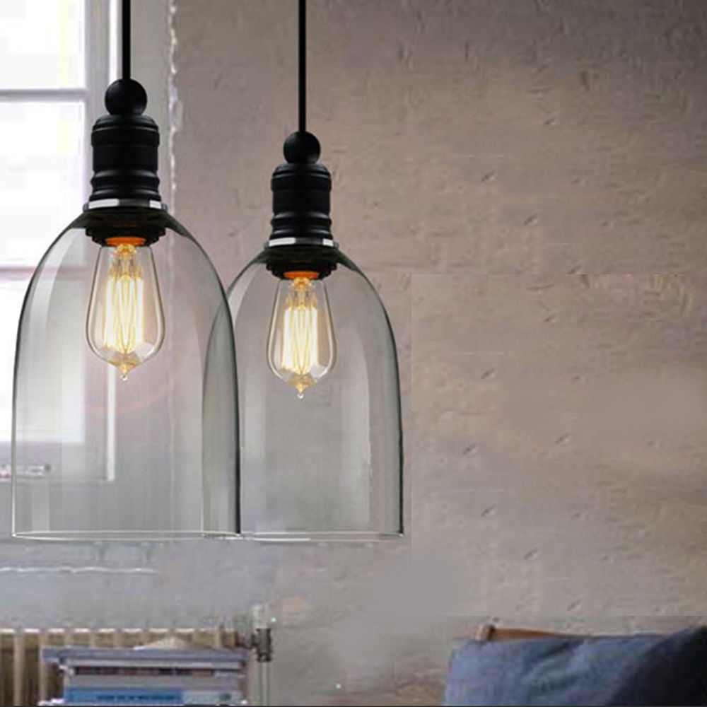 Clear Bell Glass Pendant Lights Dining Room Modern Lamps Fixtures Length Adjustabe Ledining Hanging Lamp 110V