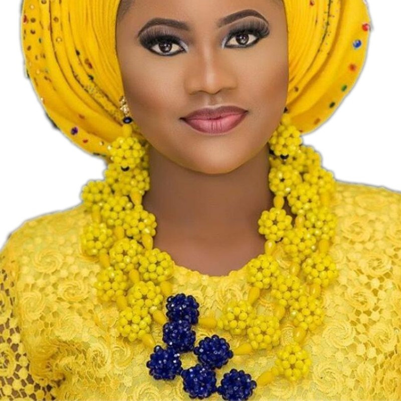 Jewellery Set Necklace Earrings Yellow and Royal Blue African Beads Nigerian Wedding jewelry Set Bridal Dubai Necklace Set Beads bohemian beads necklace and earrings