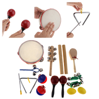 16Pcs/Lot Musical Instruments Set 10 Kinds Kindergarten Kids Tambourine Drum Percussion Toys for Children / Early Education