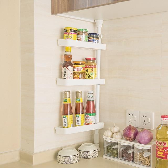 White Gap Storage Shelf For Kitchen Storage Skating Movable Plastic ...
