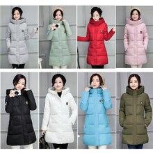 2017 Winter Coat Women Hooded Cotton Padded Parkas Girls Student Wadded Warm Outwear Winter Jackets Female Long Overcoat YL020
