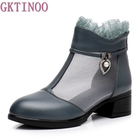GKTINOO 2019 Spring New Fashion Hollow Genuine Leather Shoes Boots Lace Women Boots Breathable Comfortable Ankle Boot Large Size