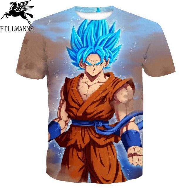 Summer Men T Shirt Retail Anime T-Shirts 3D Printed dragon ball T shirts Hip Hop Man Tee Streetwear Mens Tops Brand High Quality