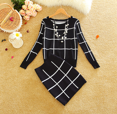 New Women Large Plaid Knitwear Suits O-neck Long Sleeve Knitted Crop Top + Tight Hip Bodycon Skirt Knitting Sets
