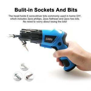 Image 2 - 6 In1 Mini 6V Battery Cordless Electric Screwdriver  Rotary Screw Driver With Work Light And 14 Bits For Household Maintenance