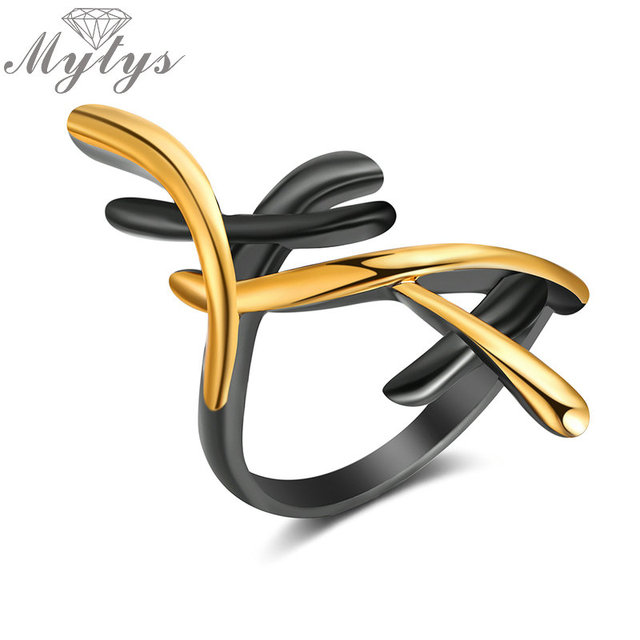 Mytys Black Gun Yellow Gold Color GP Geometric Cross Ring New Fashionable Lady J