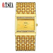 High Quality O.T.SEA Brand Gold Bracelet Watch women Ladies Crystal Dress Quartz Wristwatches Relogio Feminino 1792