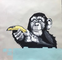 Handpainted Morden Animal Oil Painting On Canvas Abstract Cartoon Music Monkey Canvas Painting Wall Art Picture
