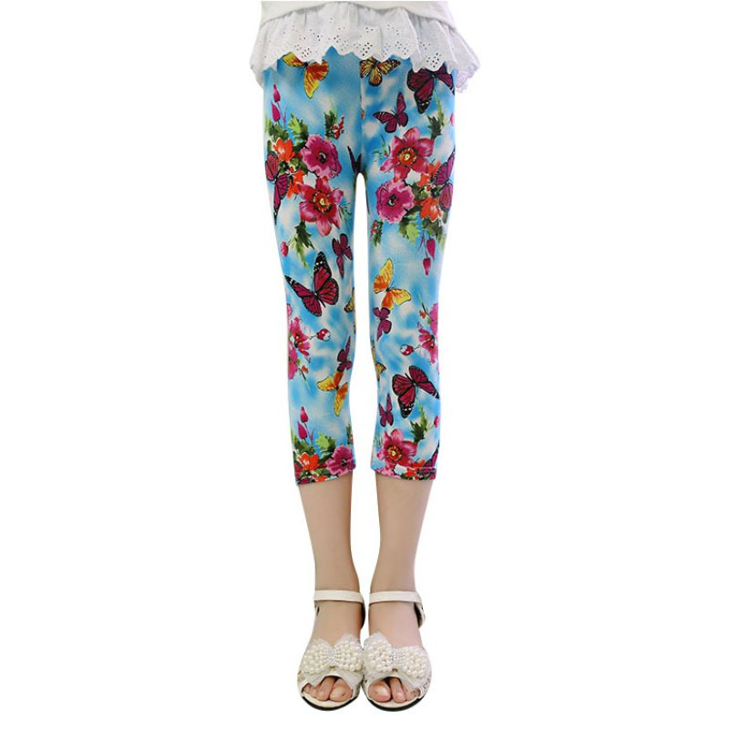 Newest Lovely Girls Floral Skinny Leggings Casual Kid s Stretchy Pants Trousers 1 7Y