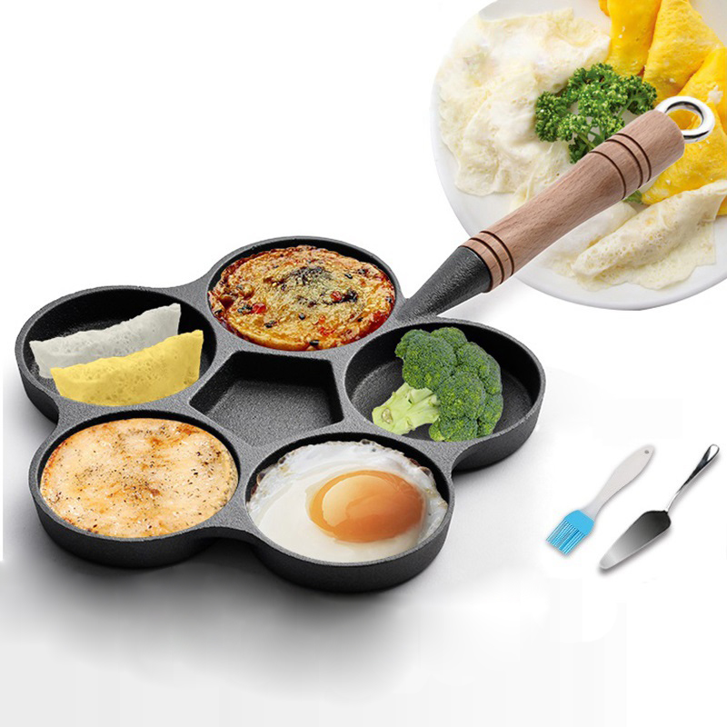 5 Hole Cast Iron Omelette Frying Pan Uncoated Non-stick Egg Mould Breakfast Pie Dumpling Burger Maker With Oil Brush & Spatula