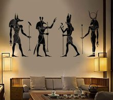 Big Wall Decoration Egypt Egyptian Gods Room Sticker Vinyl Art Removable Poster Modern Ornament Anubis Ra Seth Apis Mural D547(China)