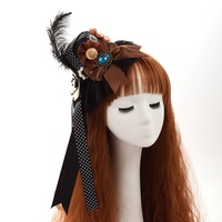 Steampunk Gear Pin Bow Feathers Hat Lace Hair Clip Punk Gothic Headwear Mini Top Hat