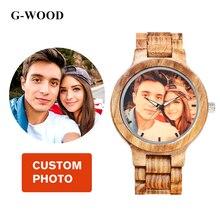 Пользовательские фото Легкий Деревянный пару часов Зебра кварцевые часы Дерево ремень Man наручные роскошный подарок для влюбленных часы Серебристые