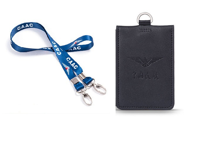 san francisco 326dc b2668 Double layer Deck Card Case Genuine Leather with Lanyard Black Work Badge  Bag ID Holder for Aviation Lover Flight Crew