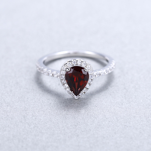 Image 3 - Gems Ballet 925 Sterling Silver Halo Ring 1.36Ct Natural Red Garnet Wedding Engagement Rings For Women Fine Jewelry