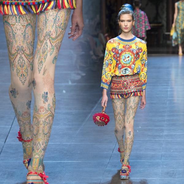 Мода старинные орнамент печати национальная личность тенденция колготки чулки женщины девушки женщины колготки