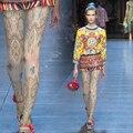 Moda patrón decorativo de la vendimia de impresión tendencia nacional personalidad chica medias de las mujeres medias del pantyhose femenino