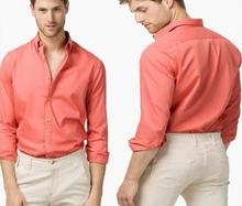 NEW Men Summer Stylish Slim Fit pure cotton Peach color casual Shirt Male Leisure shirts