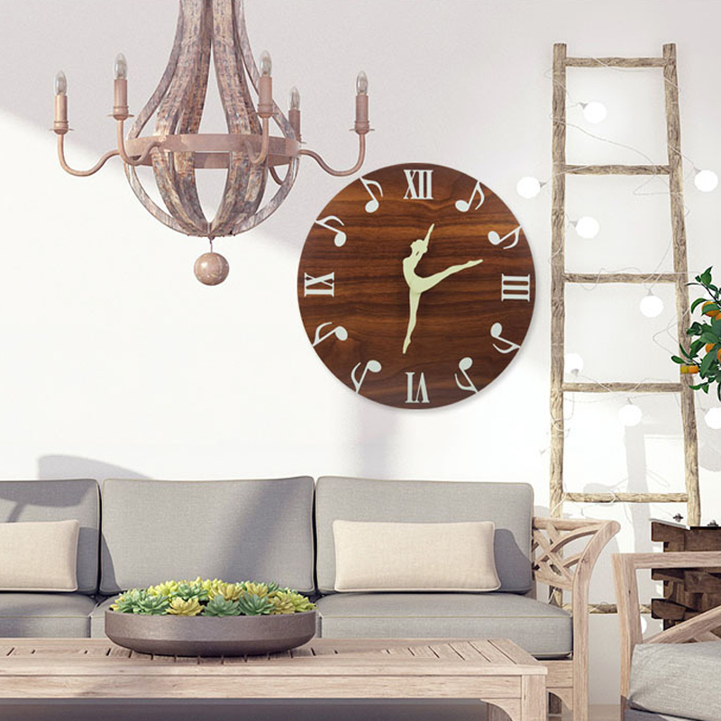 12 Inch 30 CM Luminous Wall Clock Beautiful dancing notes Glow In The Dark for Bedroom Living Room Hanging Clock Home Decoration in Wall Clocks from Home Garden
