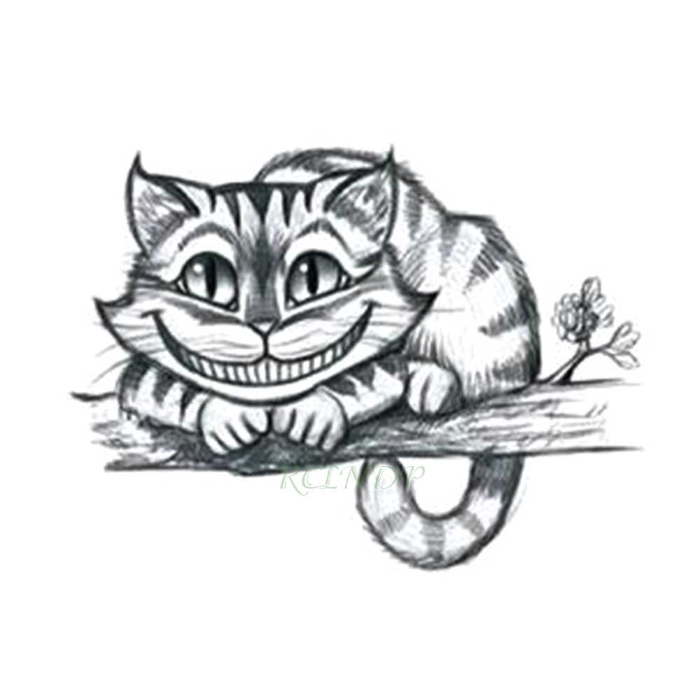 Waterproof temporary tattoo sticker alice in wonderland cheshire cat laughing cute fake tatto flash tatoo for