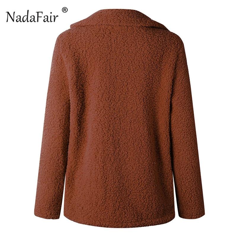 Nadafair plus size fleece faux fur jacket coat women winter pockets thicken teddy coat female plush overcoat casual outerwear 17