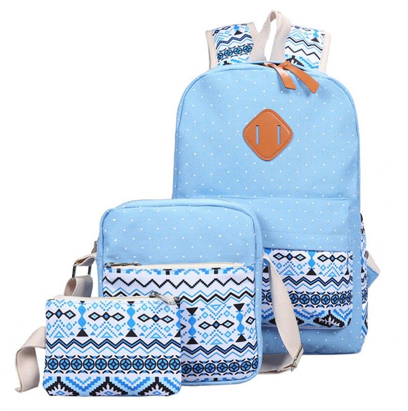 Zhierna 3pcs/sets Korean Casual Women Pack Vintage Canvas Book Bag School Backpack For Teenage Girls Composite Bag Fashion Cute