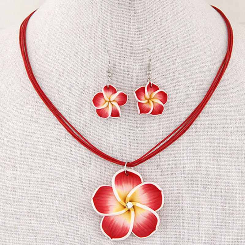 New Fashion Retro Style Multilayer Wax Rope Necklace Set Colorful  Flowers Pendant Earrings Set Women Free Shipping
