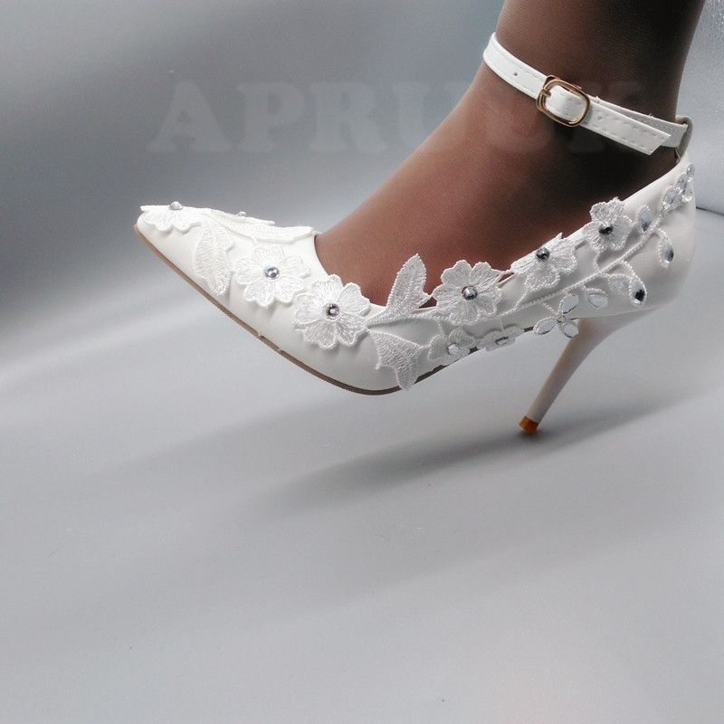 Lace wedding shoes bride white color ankle buckle straps sexy thin high heels point toes ladies